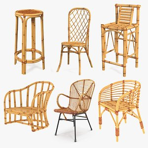 3D Bamboo Chairs Collection 3 model