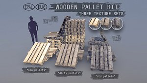 3D Collection Cargo Wood Pallets EUR EPAL model