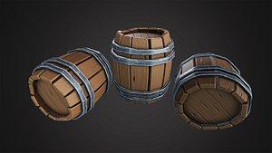 3D Stylized Wooden Barrel model
