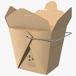 3D model Kraft Paper Take Out Food Container 16 Oz Opened