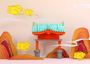 3D National tide gilt Jinmen hometown landmark building Chinese style paper-cut ink and wash poetic car