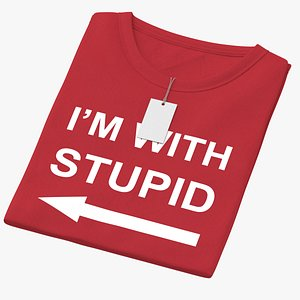 Female Crew Neck Folded With Tag Red Im With Stupid 01 3D model