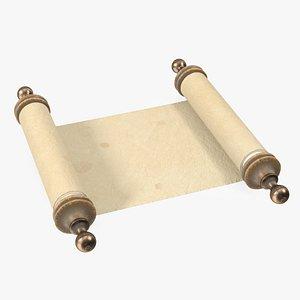 3D model Antique Unfolded Blank Parchment Scroll