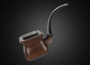 3D Vintage wooden tobacco pipe smoking