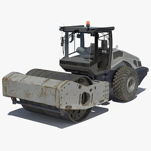3D model Heavy Duty Single Drum Compactor Dirty