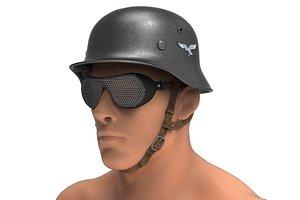 German military helmet with glasses - Stahlhelm m35 3D