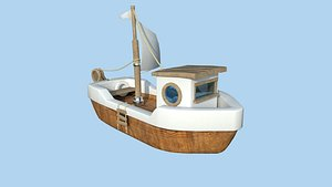 3D Cartoon Boat 09 White Wood - Low Poly Ship model