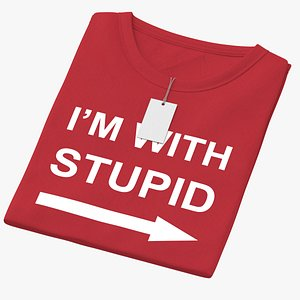 Female Crew Neck Folded With Tag Red Im With Stupid 02 3D