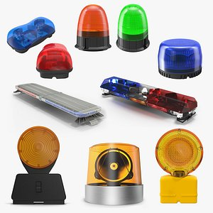 Emergency Warning Lights Collection 4 3D model