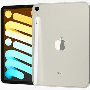 Apple iPad mini 2021 6th gen WiFi and Cellular with Pencil Starlight 3D model