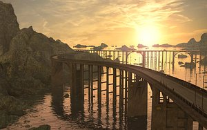 3D Road Sea Bridge