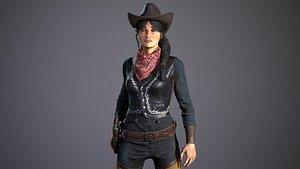 3D west female character bandit model