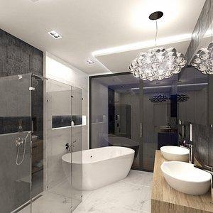 scene luxury bathroom interior 3D model