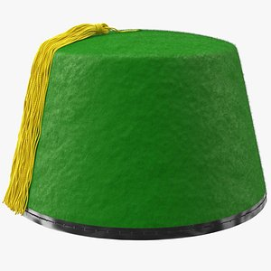 3D traditional arabic green fez