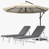 Sun Lounger With Offset Umbrella