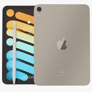 iPad mini 2021 Starlight With Apple Pencil 3D