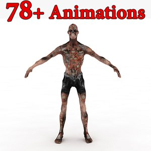 3D Zombie Skinned Rigged and Animated