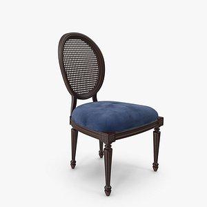 French Country Dark Blue Velvet Dining Chair 3D model