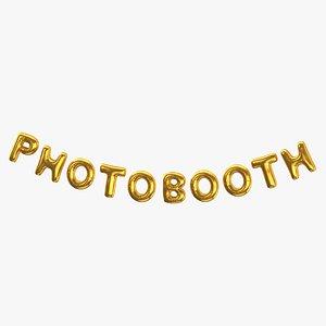 3D model Foil Baloon Words PHOTOBOOTH Gold