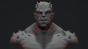 3D miniature orc bust