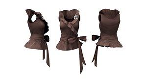 Ruffled Neck Peplum Top With Bow Belt 3D model