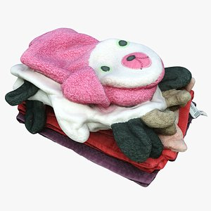 3D pile washclothes towels model