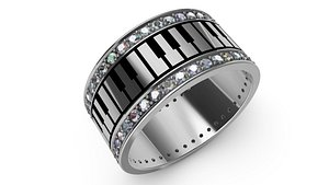 3D jewelry piano gold ring