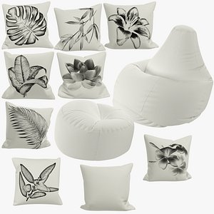 Bean Bag Chairs and Pillows Collection V8 3D