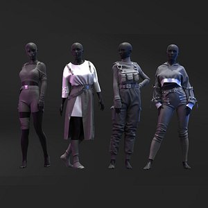 Pack of Black Aesthetic Outfits 3D model