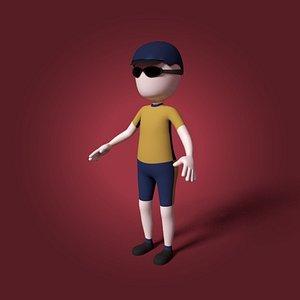 3D cartoon hunter model