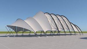 3D model Tensile steel structure 3-parts