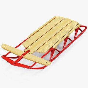 wooden snow sled model