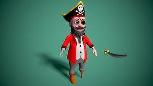 pirate cartoon toon 3D model