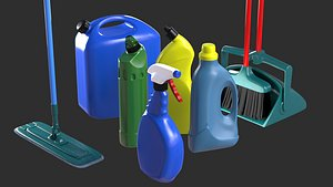 3D model cleaning supplies