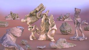 3D Broken statues and Ruins model