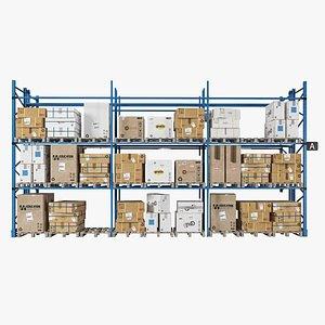Cardboard boxes Metal shelve  Wooden pallet 1 model
