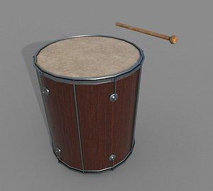 3D model Wooden Leather Drum