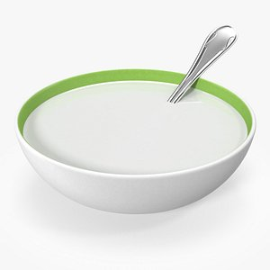Bowl with Milk and Spoon 3D model