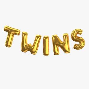 Foil Baloon Words Twins Gold 3D model
