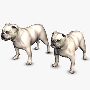 3D English Bulldog White Female and Male Setc4d model