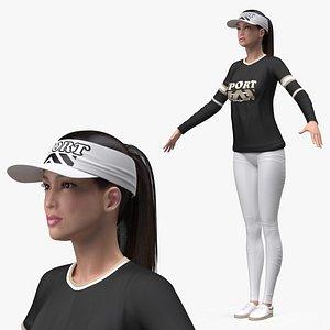 3D Asian Woman in Sportswear T Pose
