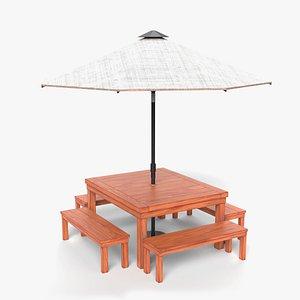 3D patio table set model