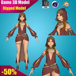girl rigged cartoon 3D model