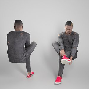 Guy putting on his shoes 323 3D model