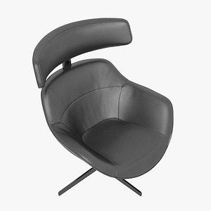 3D Cassina 277-12 Auckland Arm Chair Black Leather Black Body