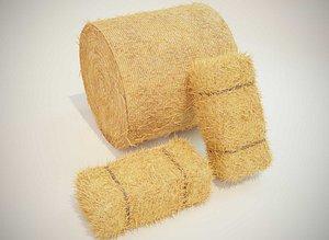 3D model bale square hay