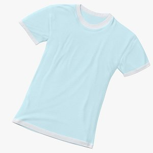 3D Female Crew Neck Laying White and Blue 01 model