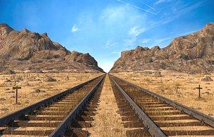 Desert Railling Train Road 3D