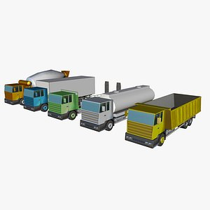 set of low poly 3 axle truck 3D