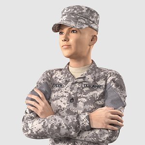 Female Soldier Military ACU Rigged for Maya 3D
